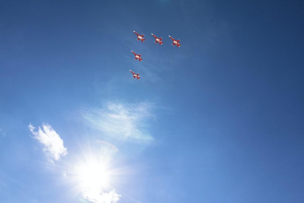 fighter jets forming flying V