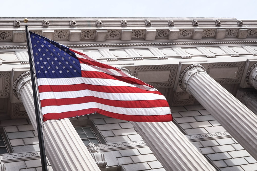 USA flag near municipal building