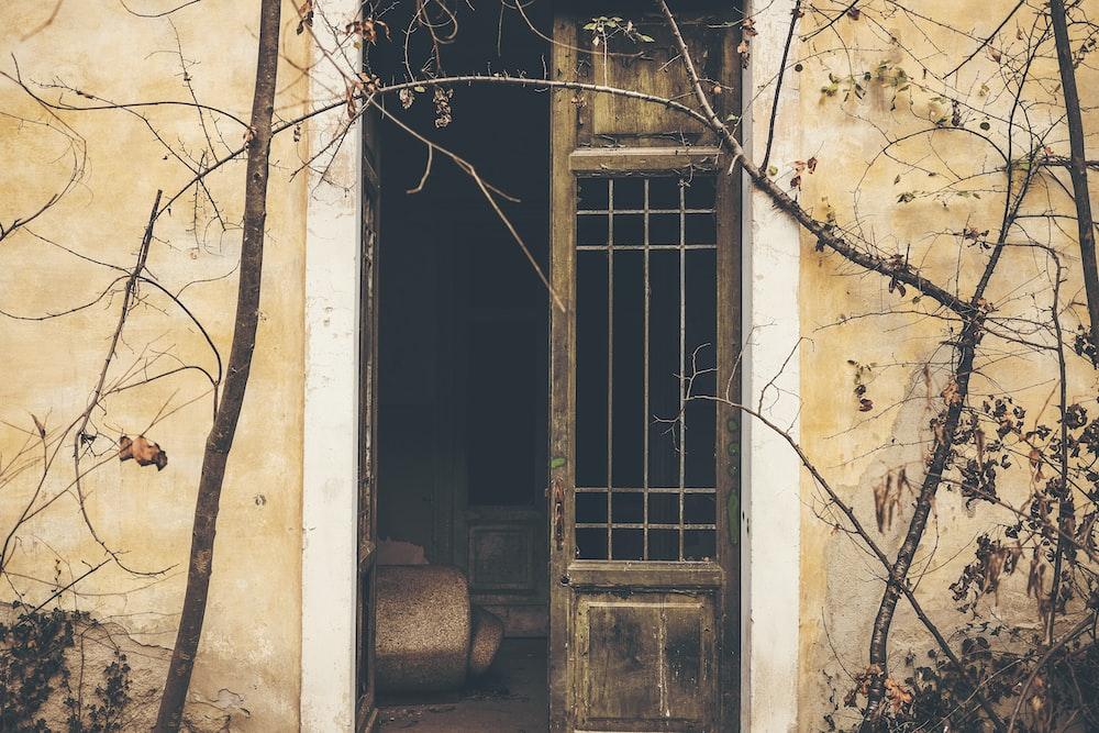 opened brown door