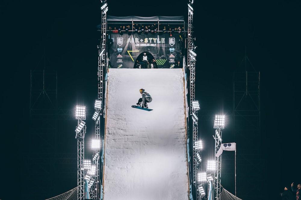 man riding snow board