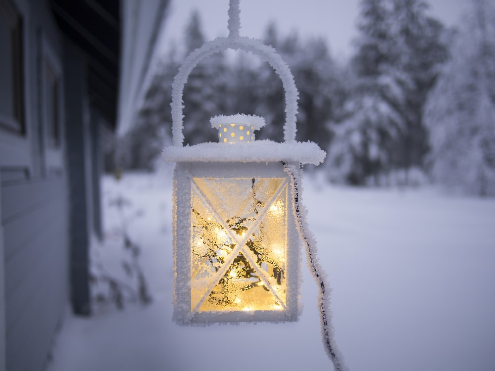 white pendant lamp hanging on ceiling outside of snow covered forest