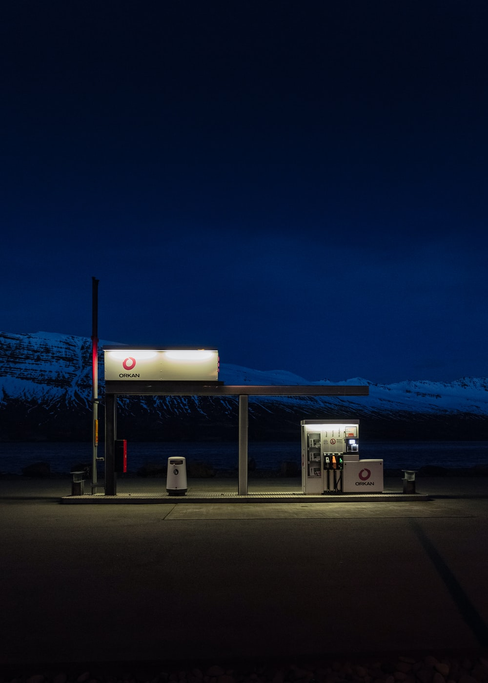 gasoline station during nighttime