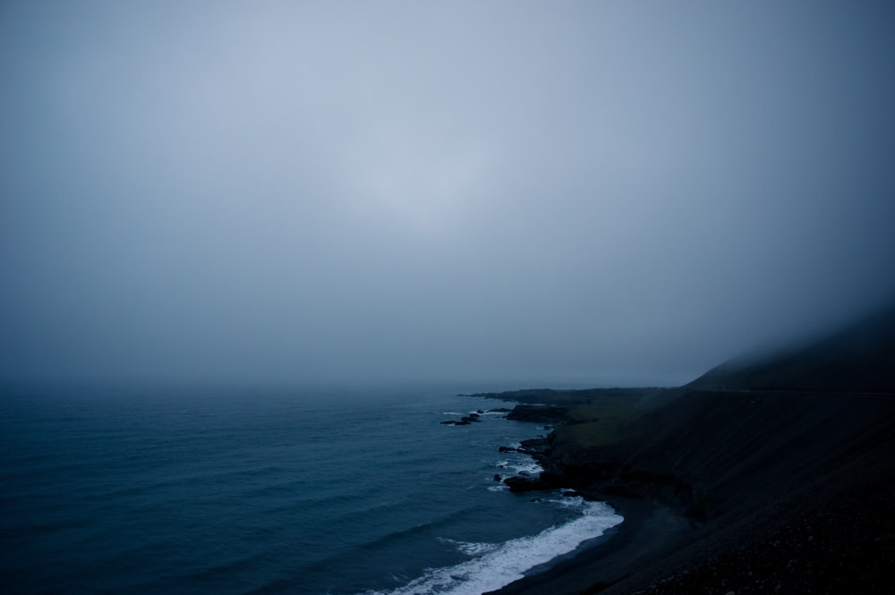 seashore covered with fog