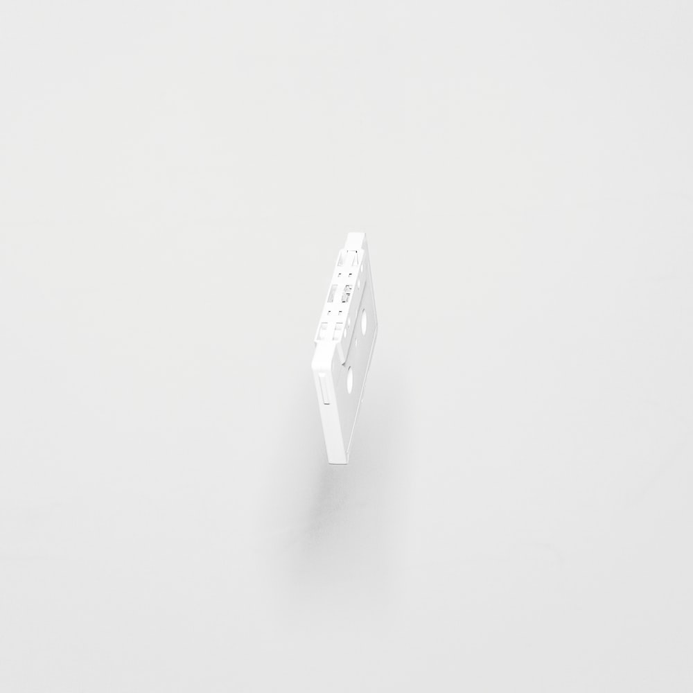white cassette tape with white background