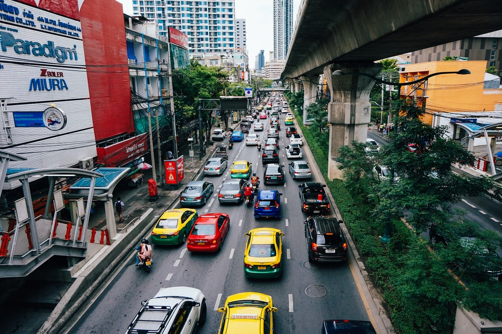 road with assorted cars