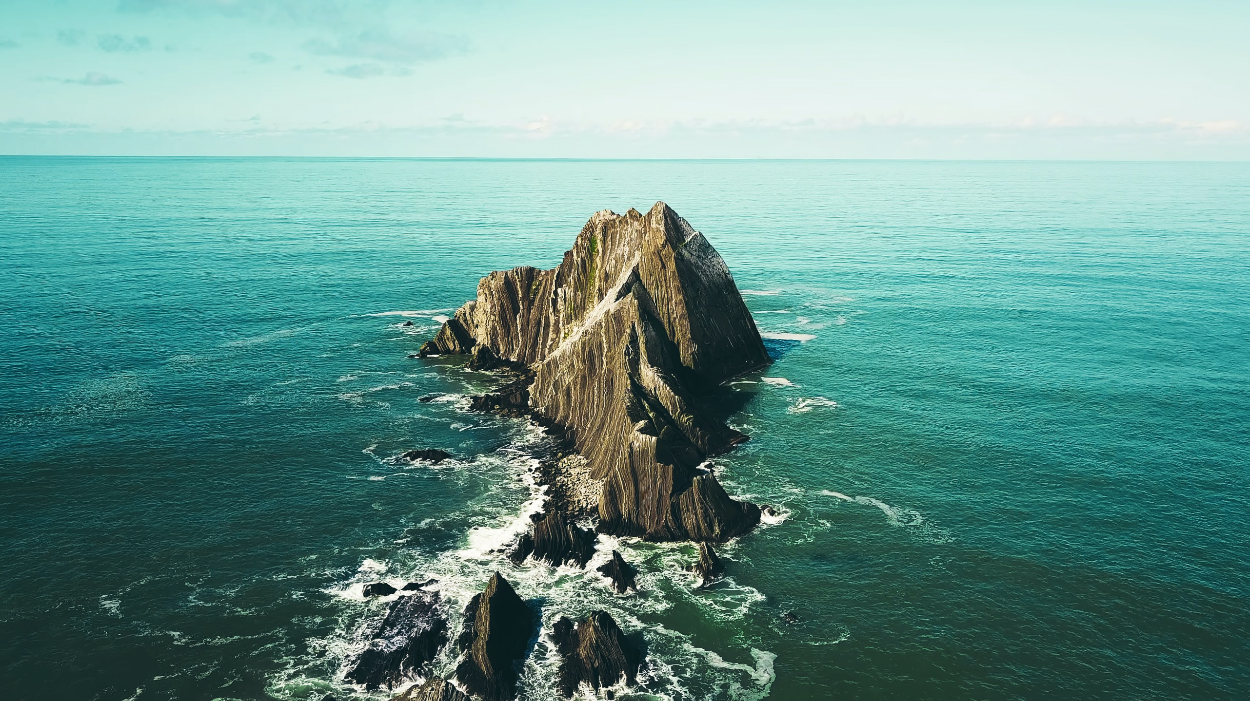 Large rocks jutting out from the ocean