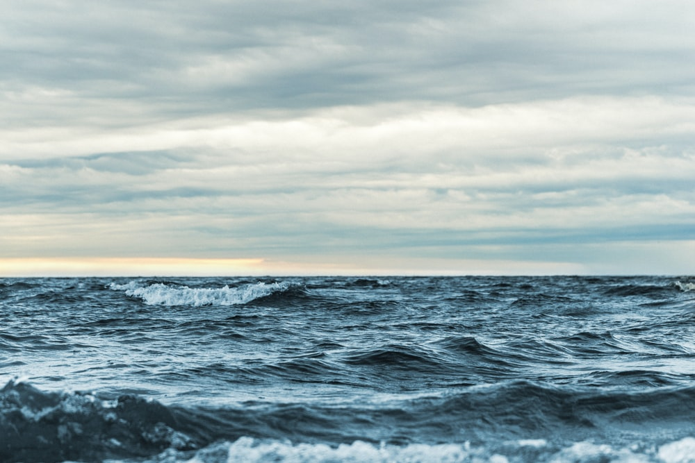 landscape photography of waves and clouds