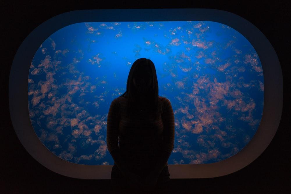 silhouette woman in front of aquarium