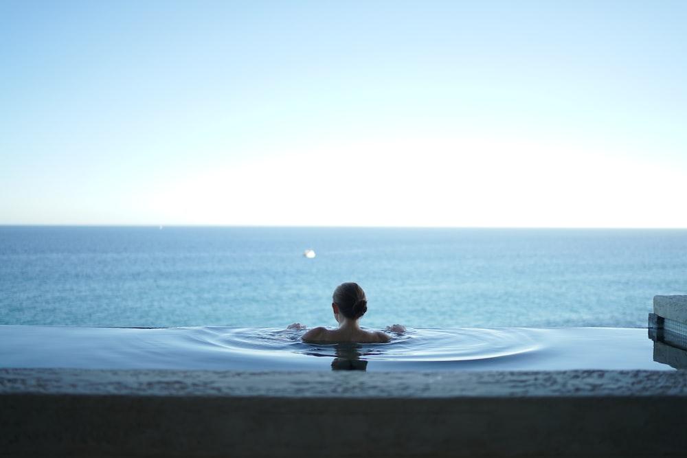 woman in water pool