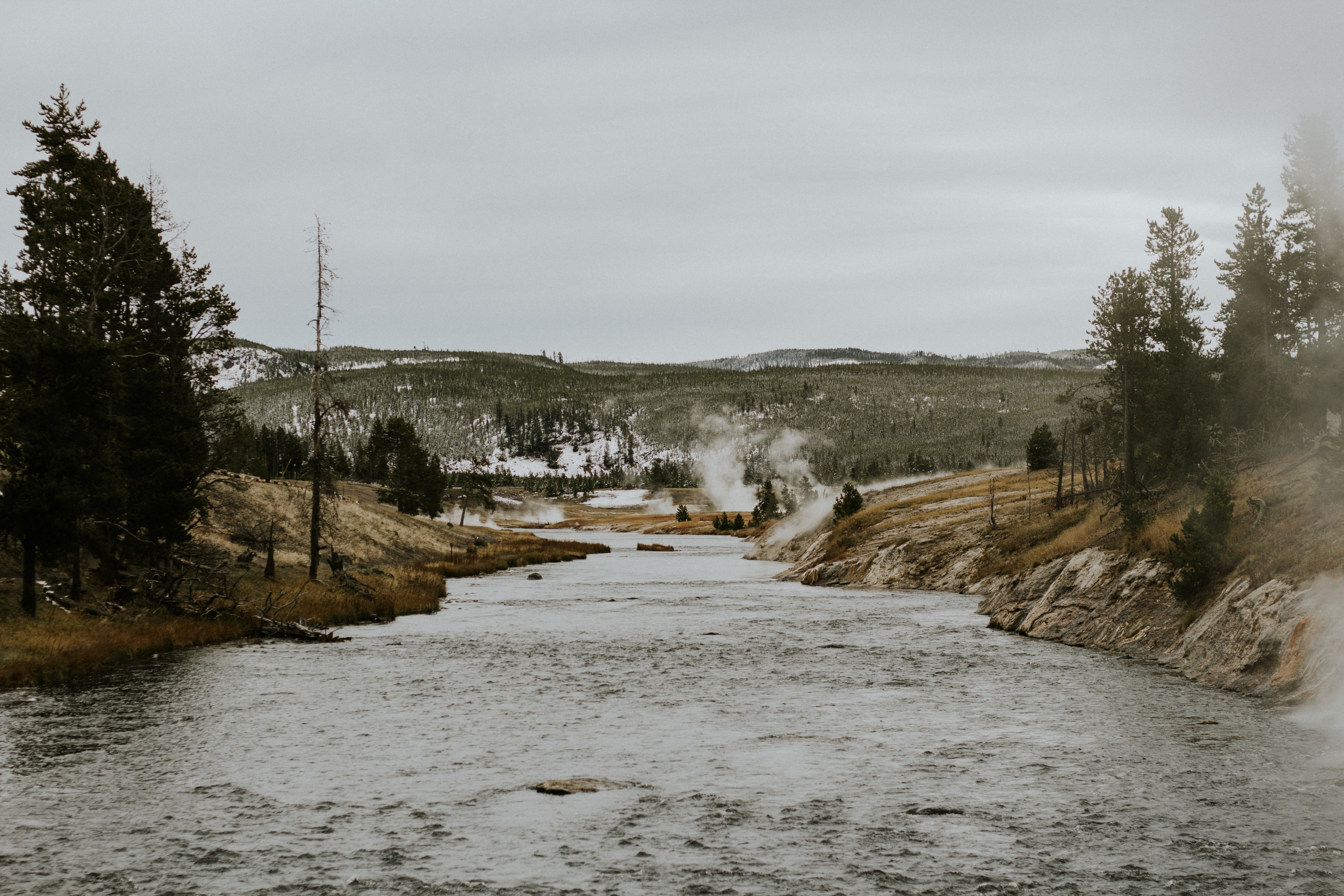A river in Yellowstone National Park on a gray winter day