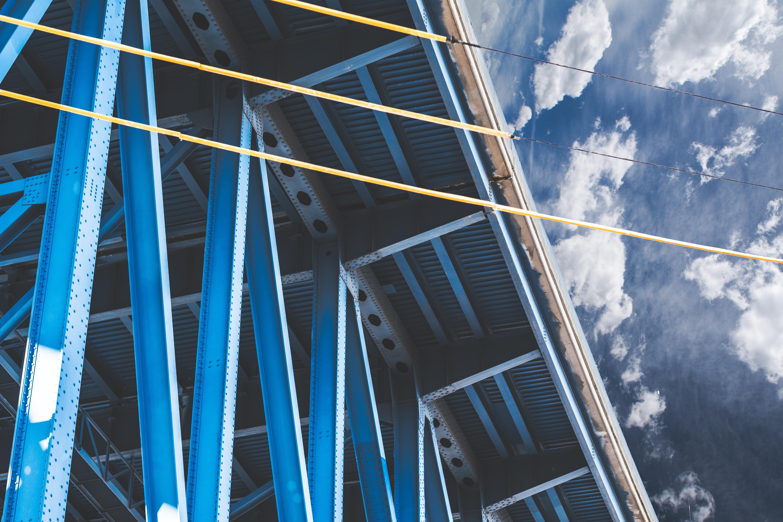 blue metal framed building
