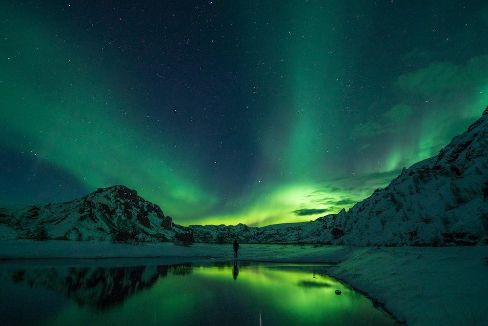 snow mountain with Aurora borealis