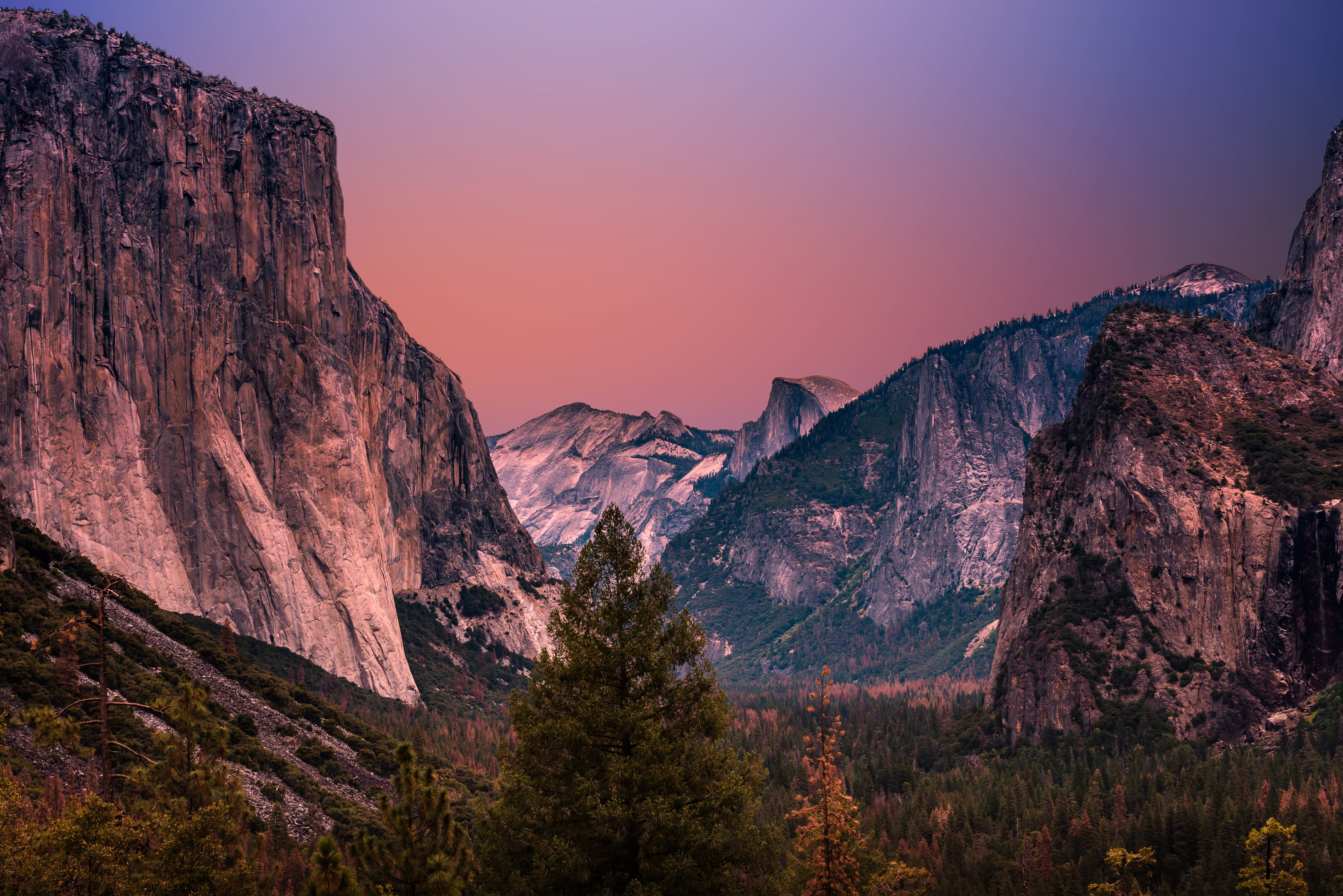 Yosemite Valley at dawn-or-dusk with a forest foreground, mountain range mid-ground and red and mauve sky in the background