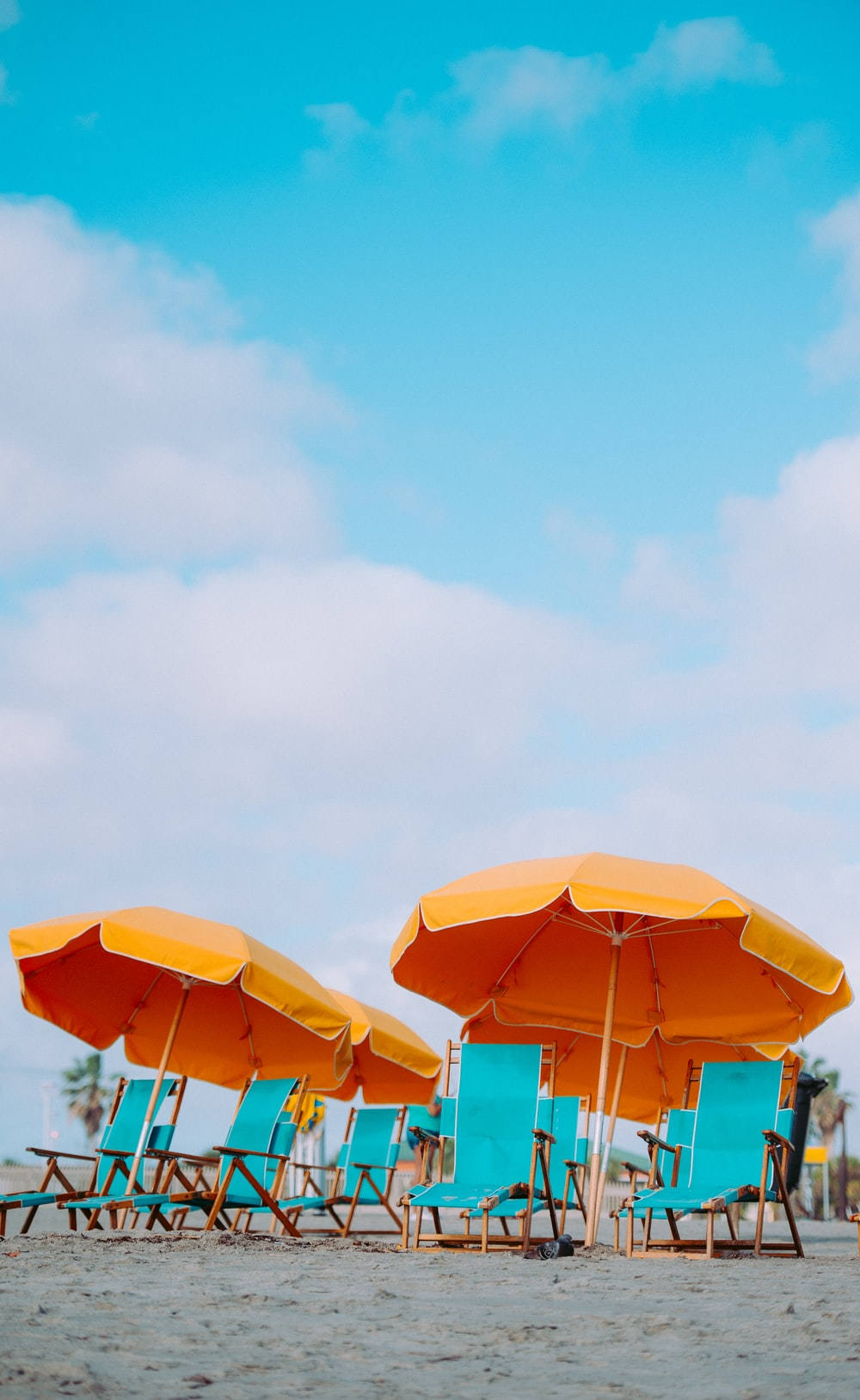 closeup photo of lounger chairs and beach umbrellas