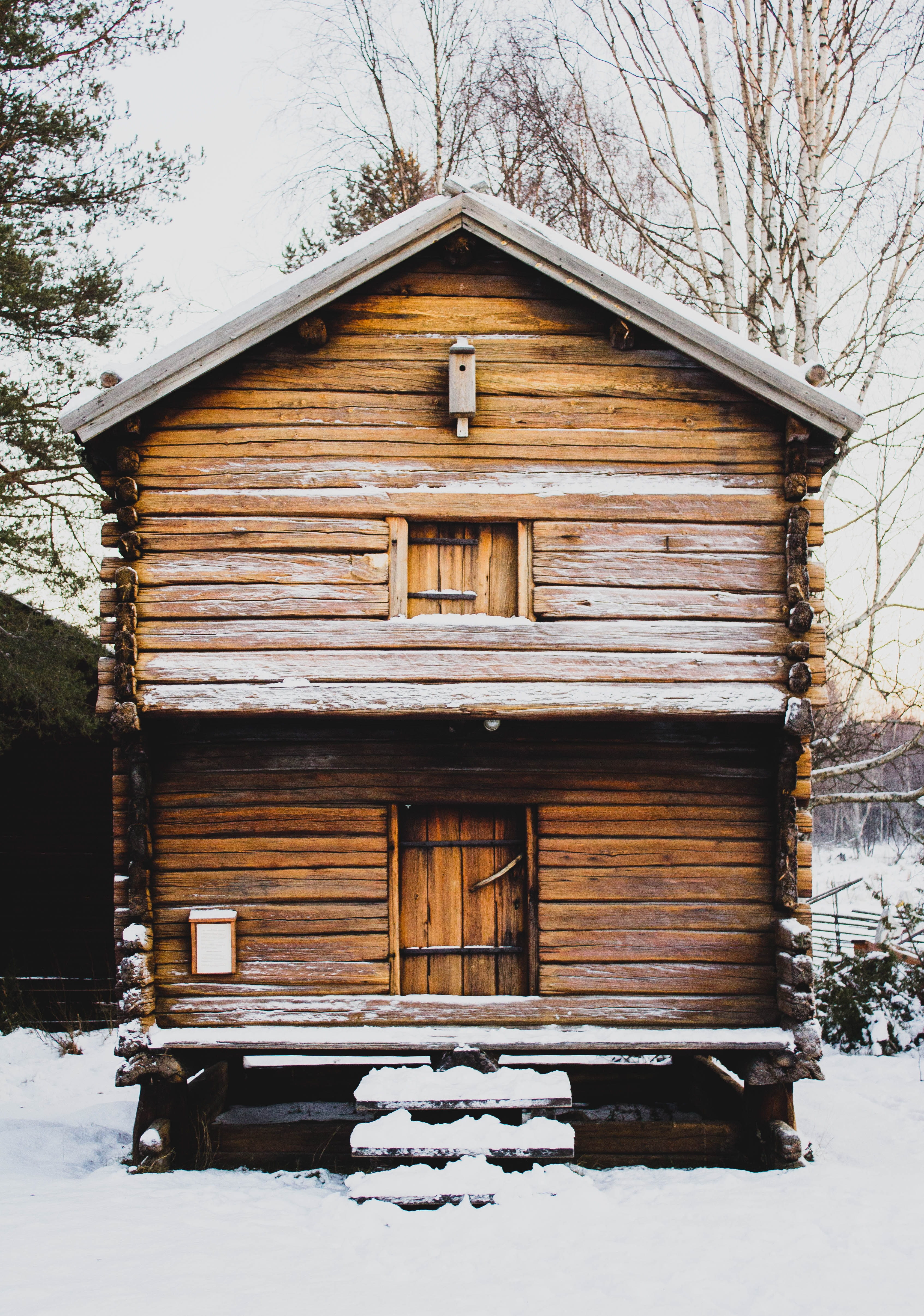 brown wooden house during winter season