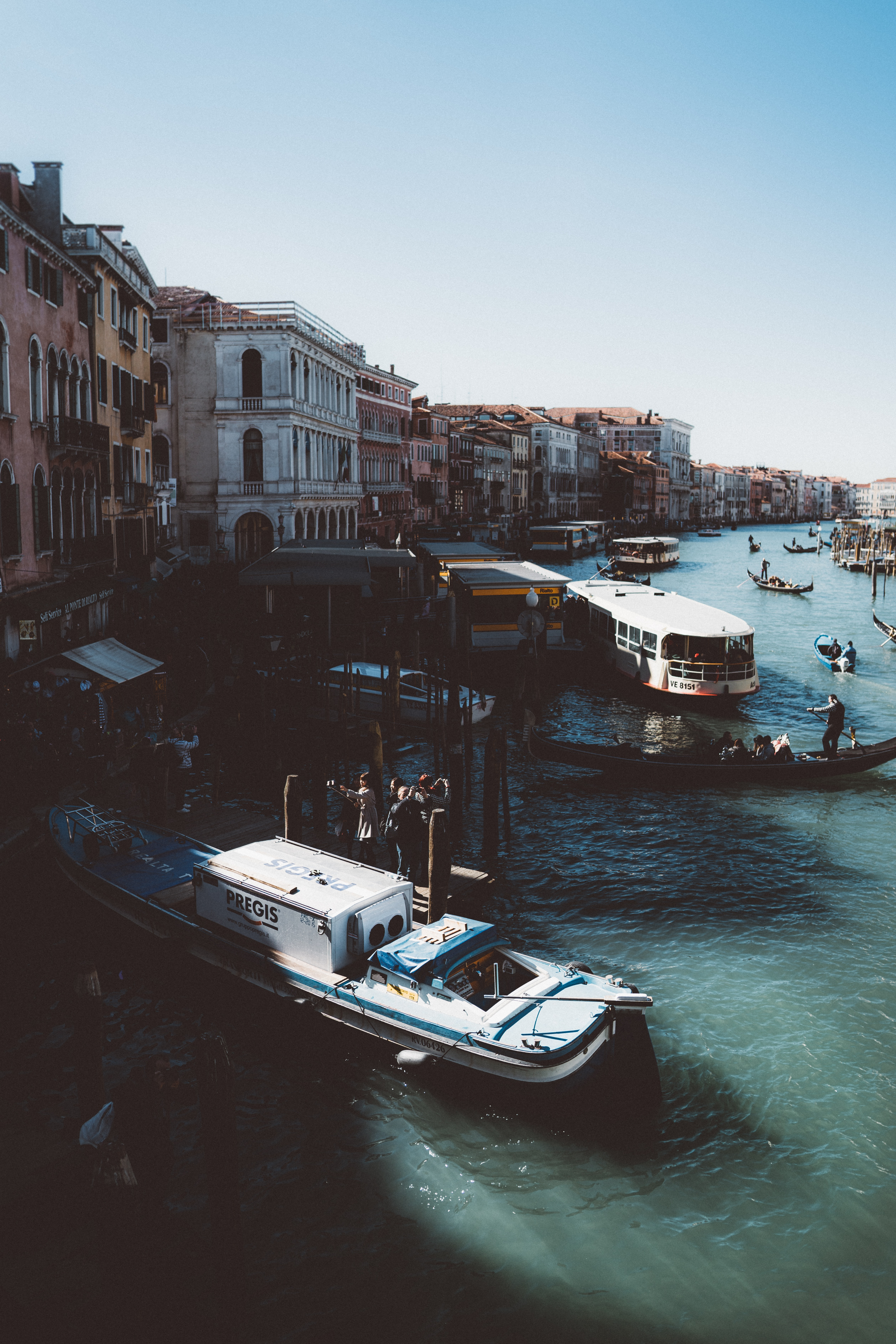 Boats and water buses on the Grand Canal in Venice