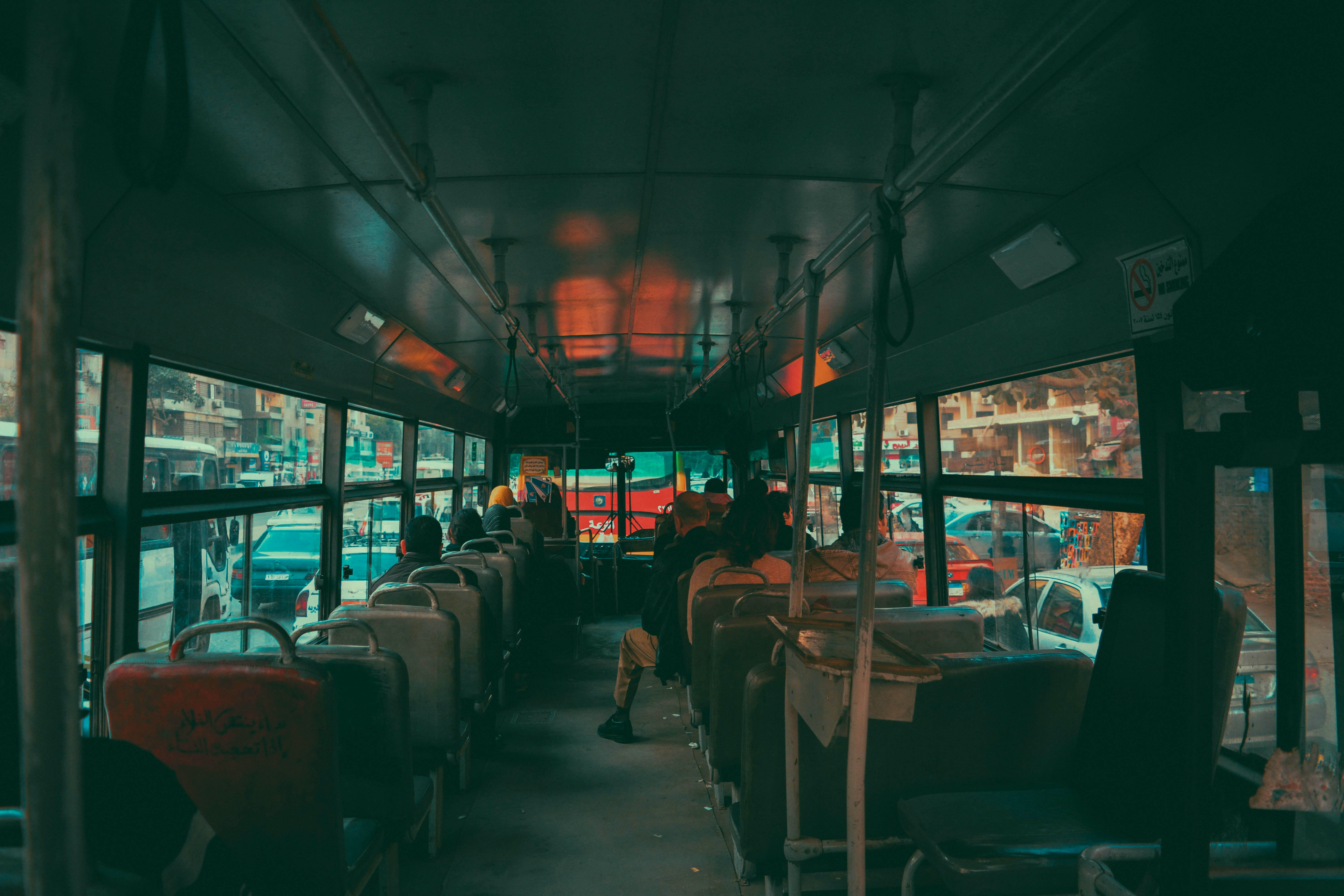 The interior of an old bus in the morning in Shobra