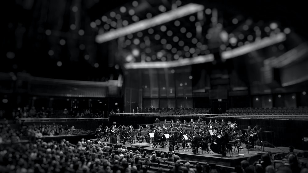 grayscale photography of orchestra playing on theatre