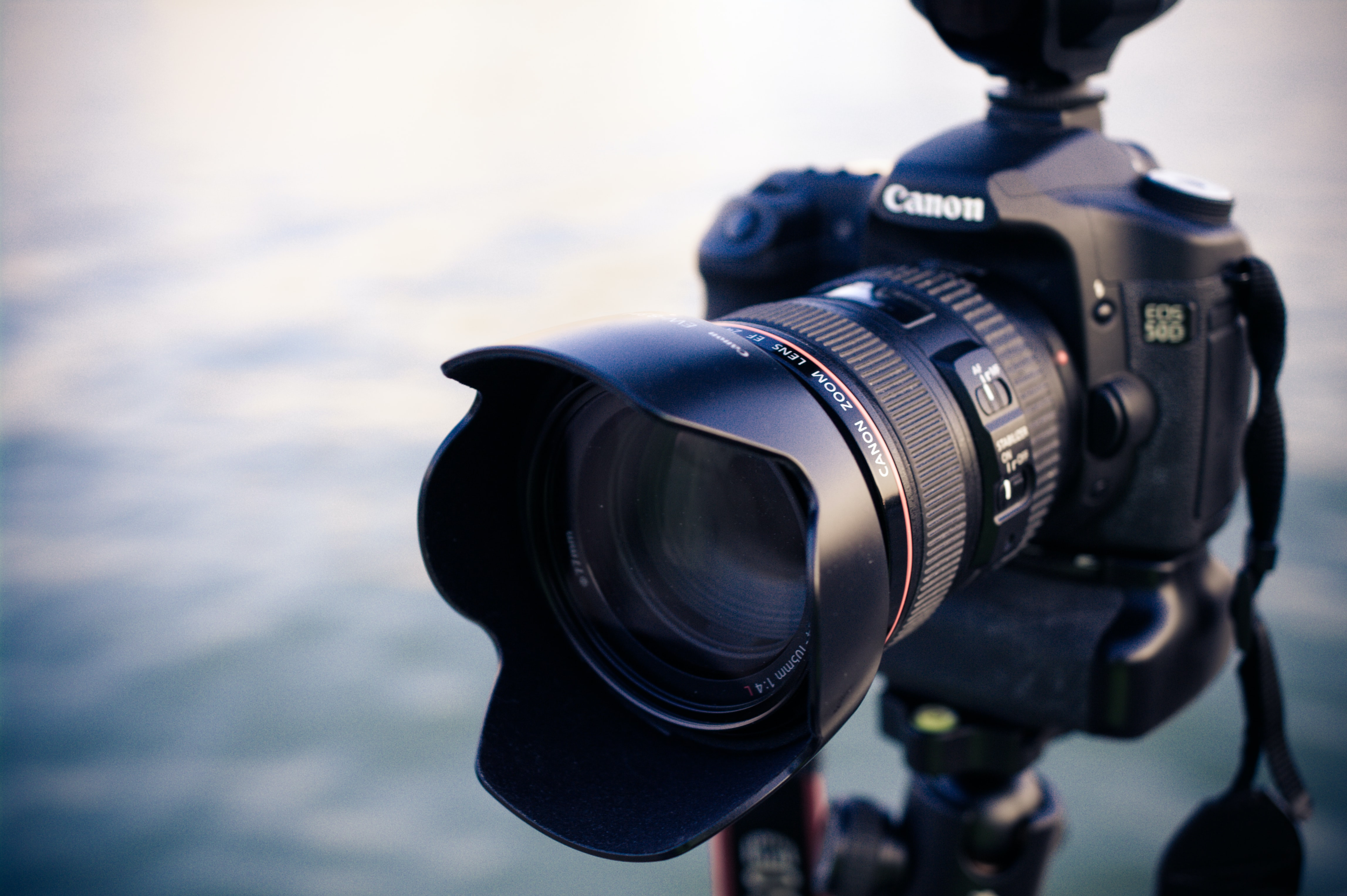 shallow focus photography of black Canon DSLR camera