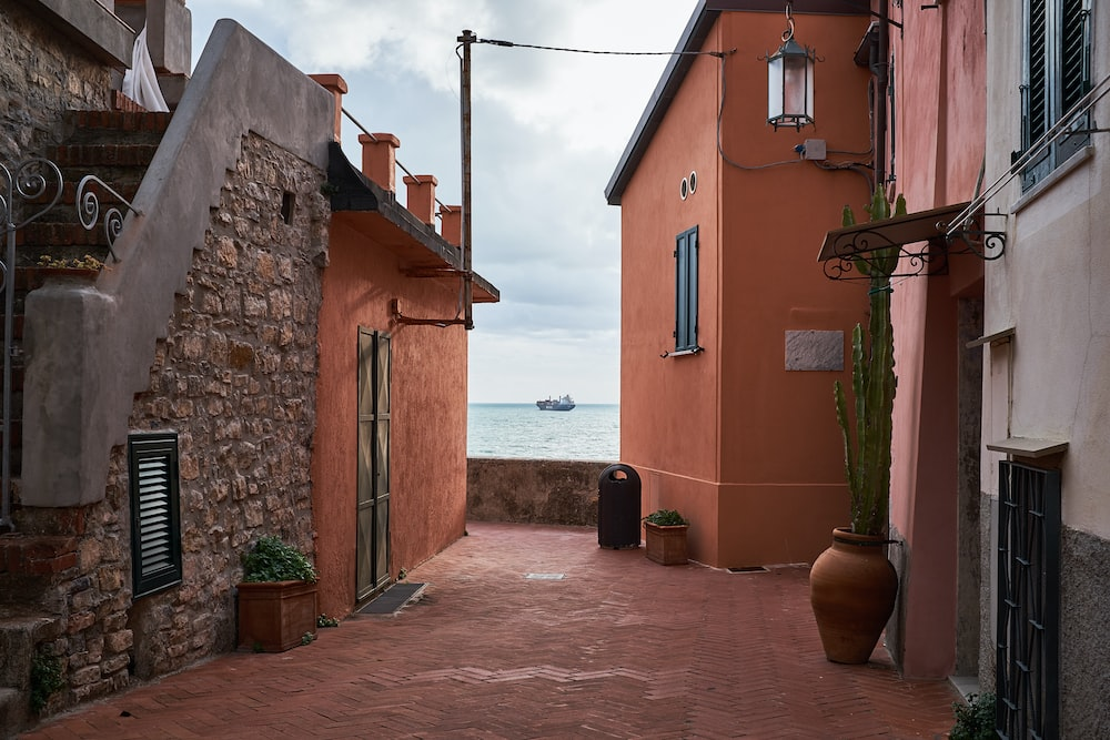architectural photography of houses near coast