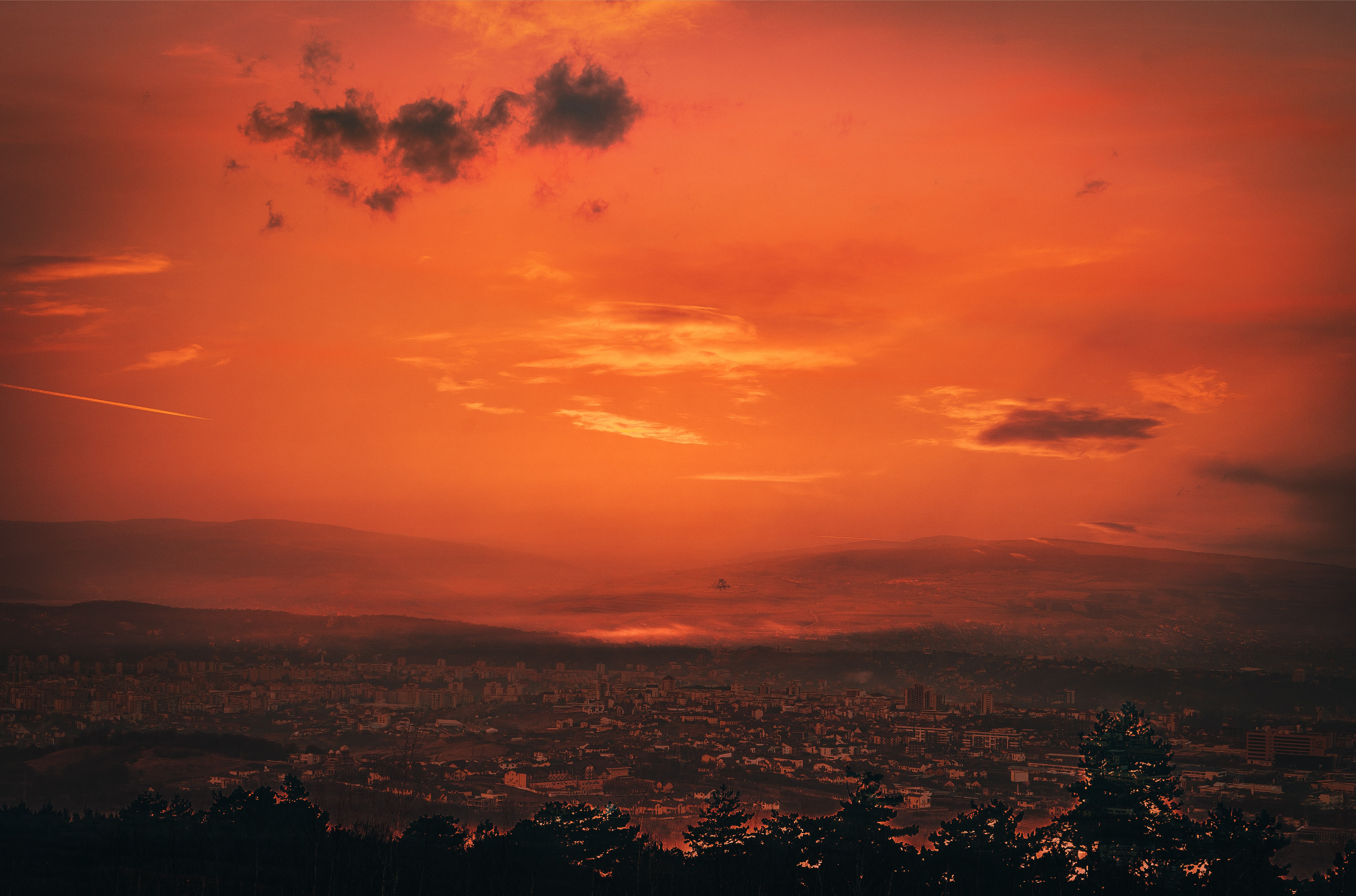 aerial view sunset scenery