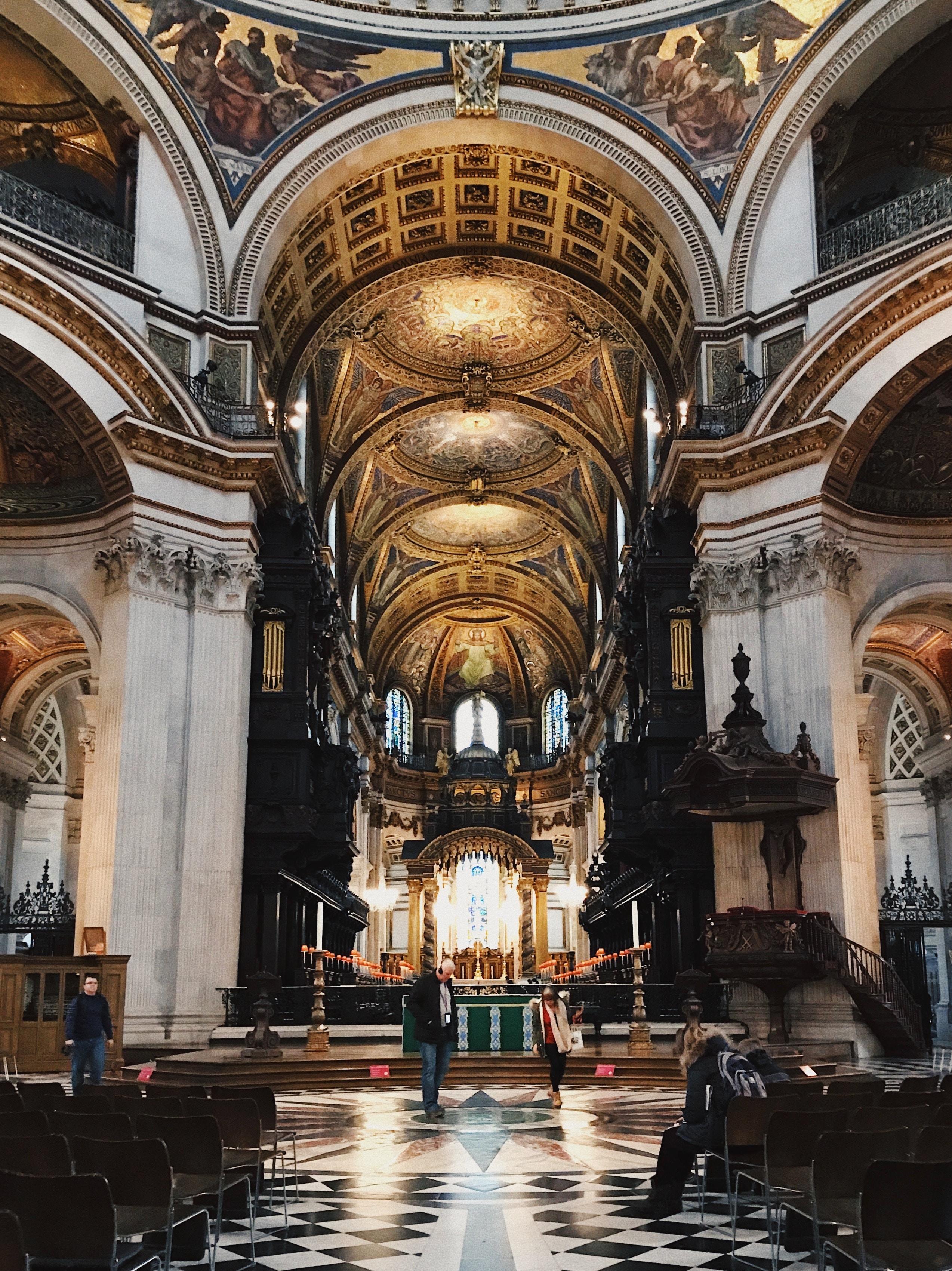 A church with high ceilings.