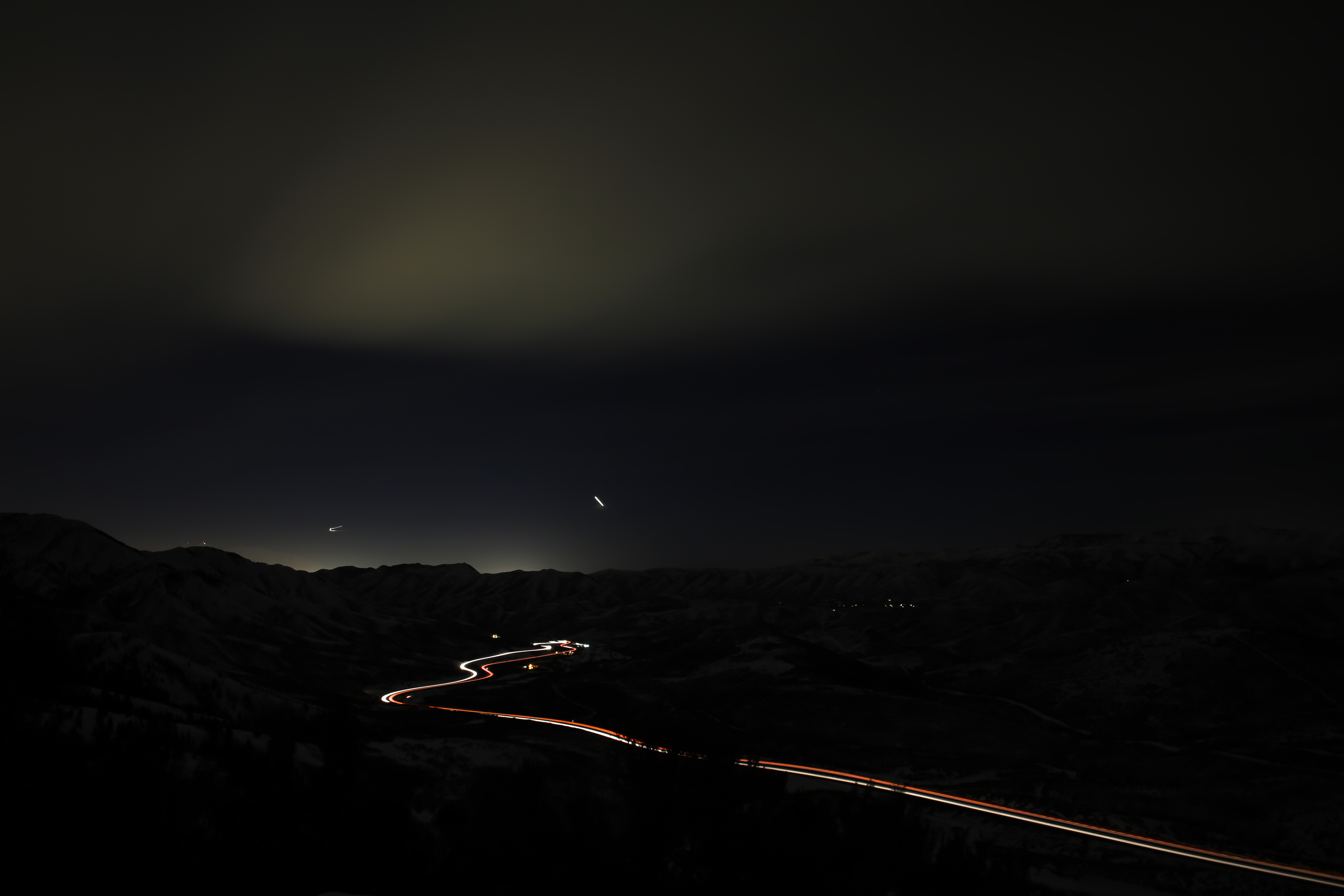 road during night time