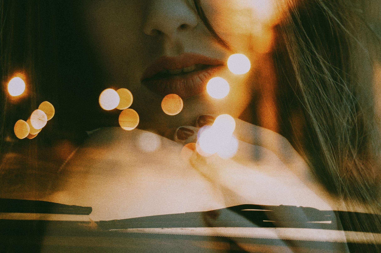profile of girl with bokeh light