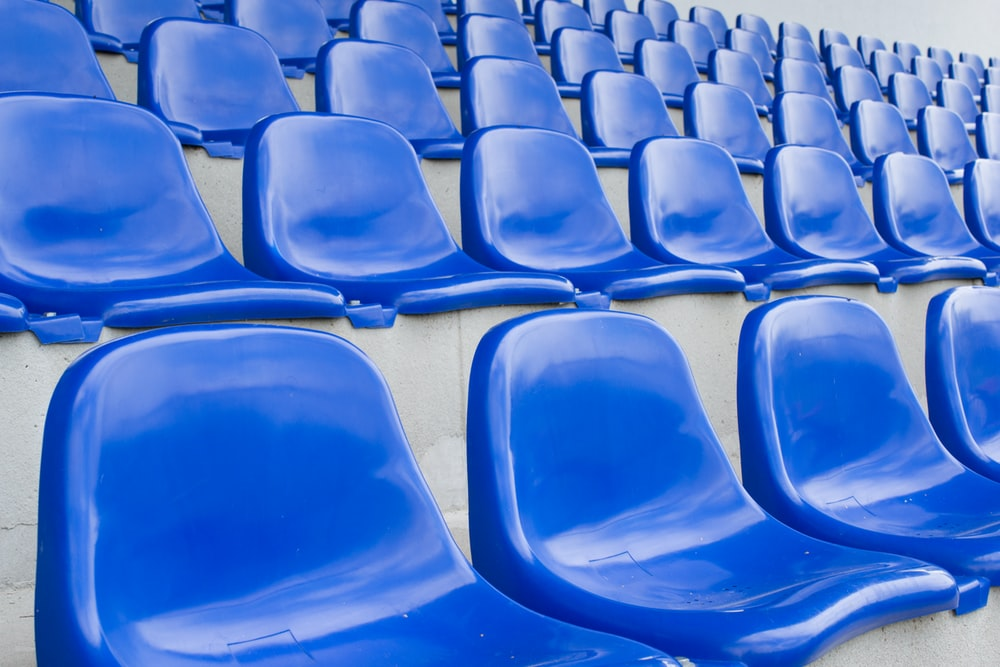 blue plastic chairs