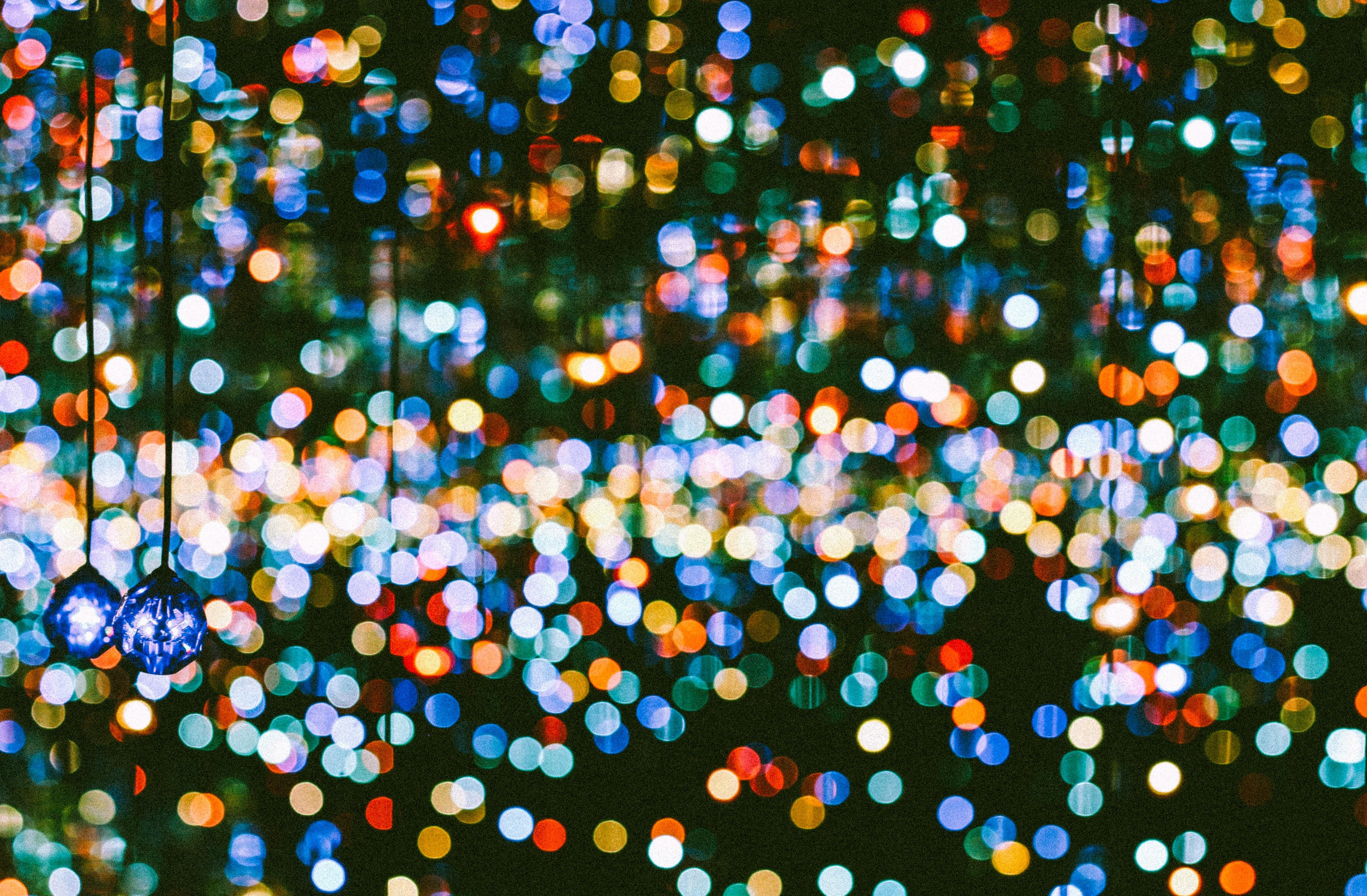 blue hanging lights