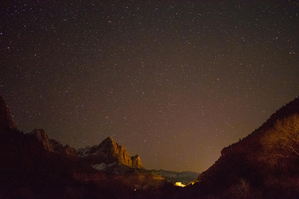 Starry sky over mountains Zion National Park