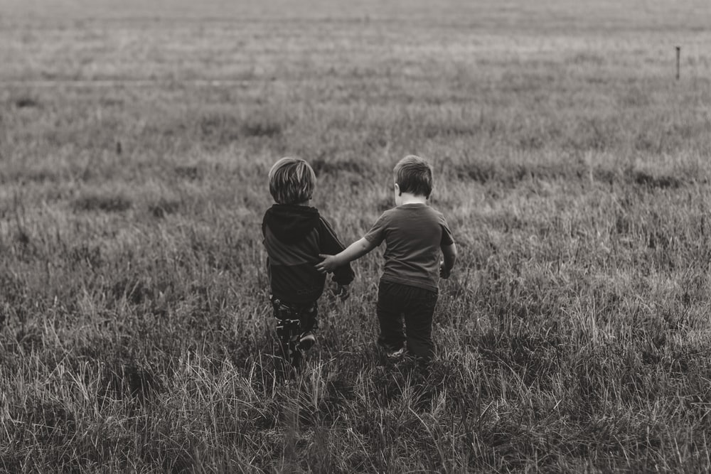 two boy's walking on green grass field