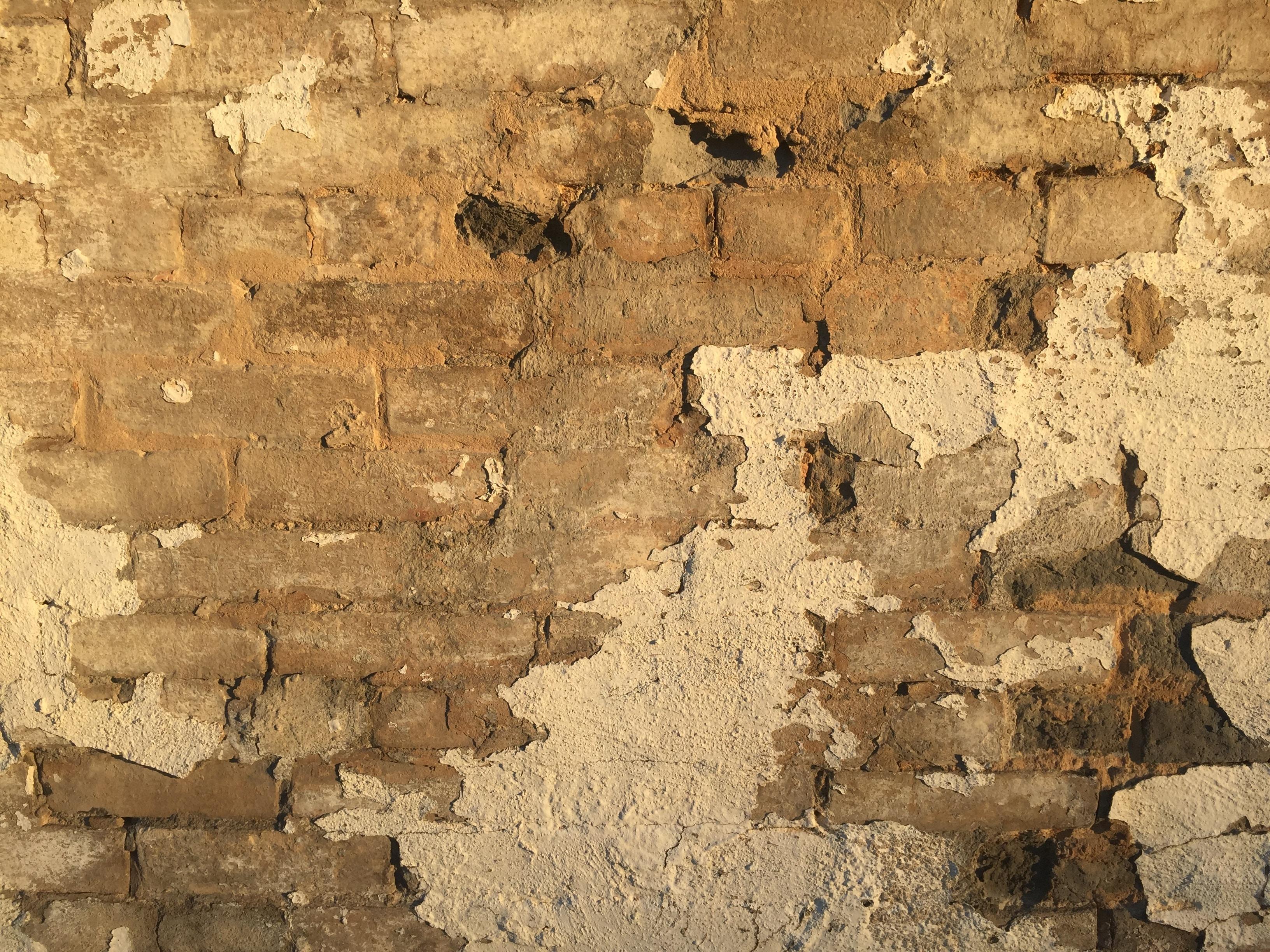 An aged brick wall.