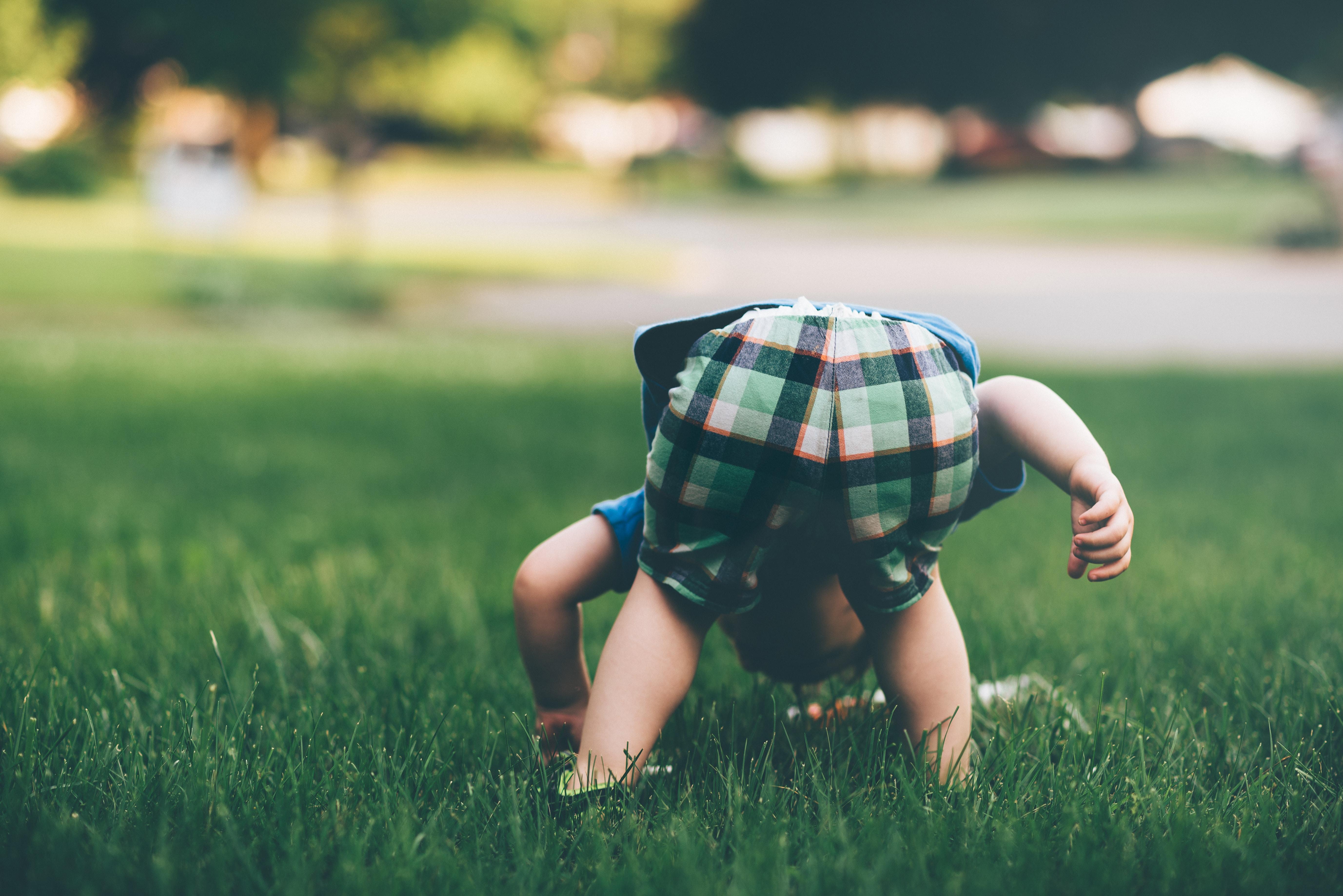 toddler on grass field