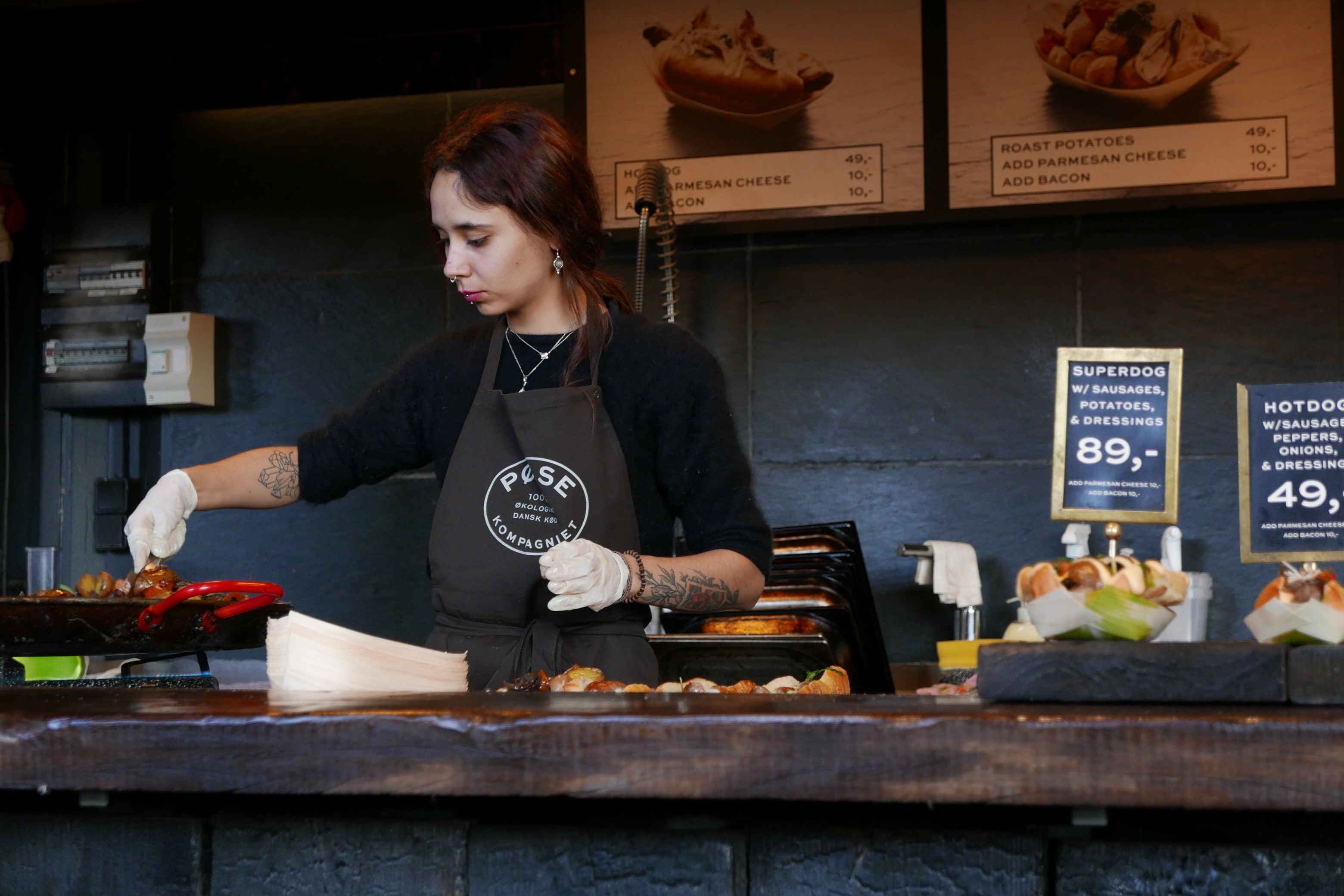 A female working at a café in Copenhagen