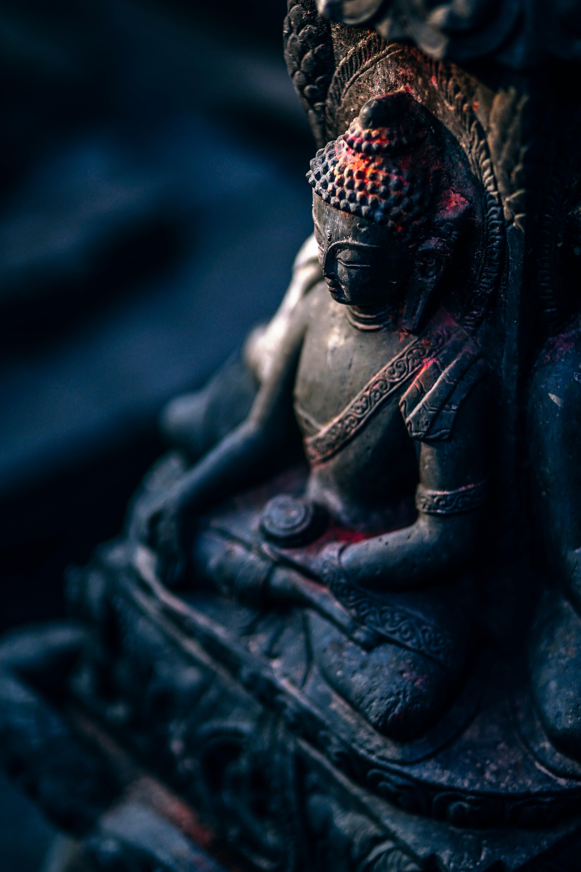 black Buddha concrete statue