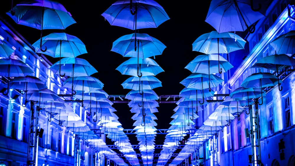 white umbrella on ceiling