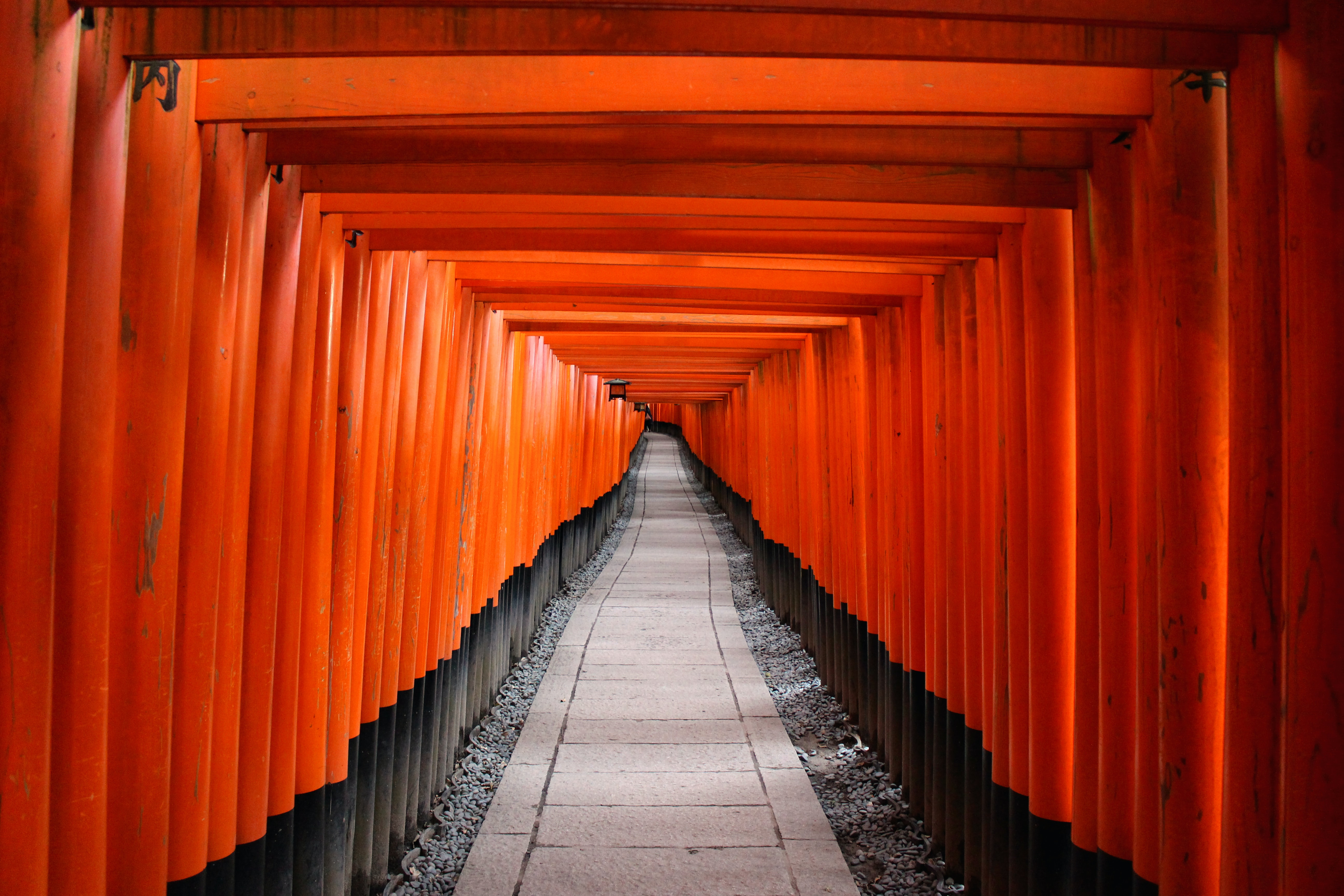 Orange architecture in a hallway that leads to Kyoto Prefecture temple