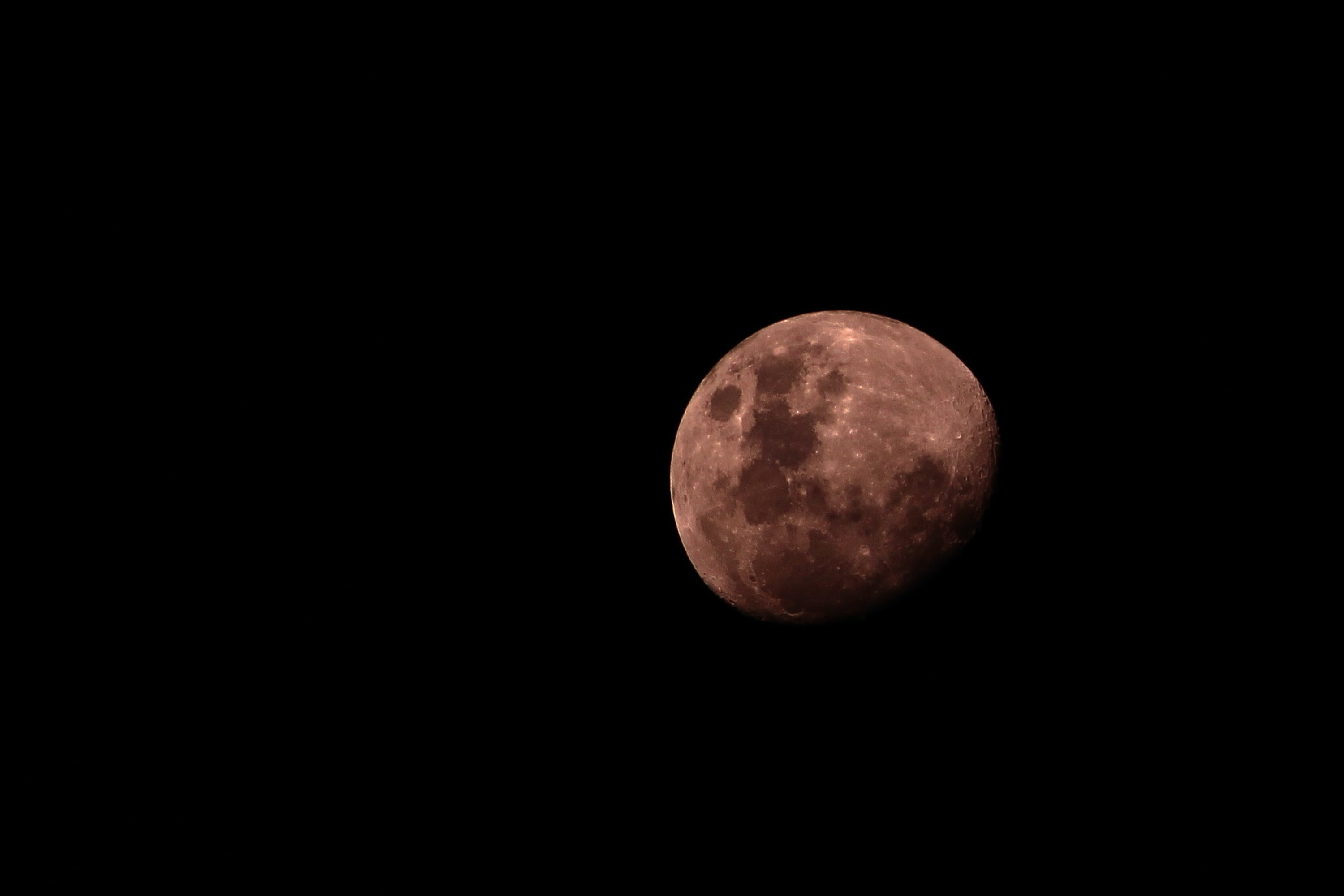 The moon glowing red against the night sky