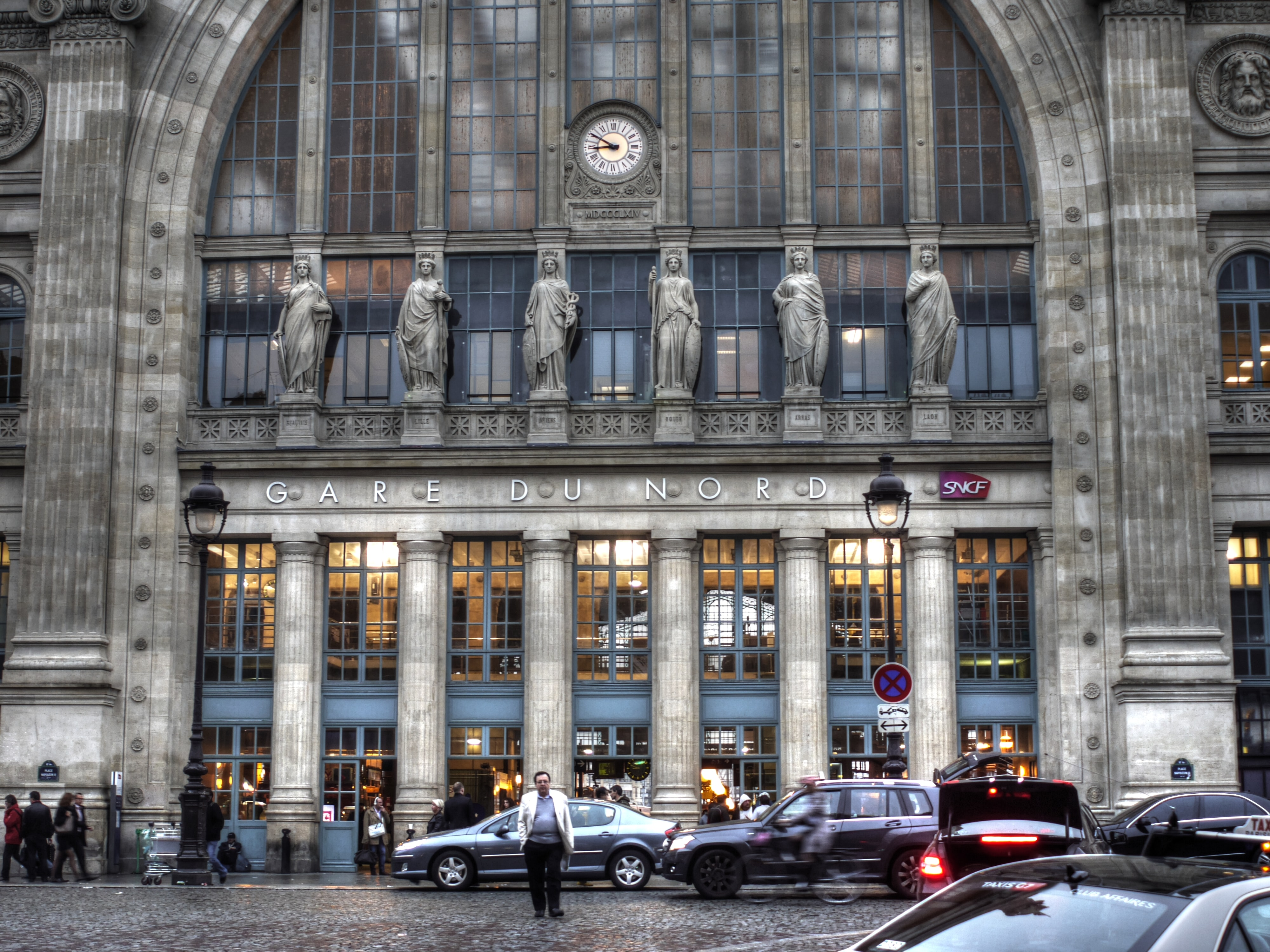 The entrance to the Gare du Nord railway station in Paris