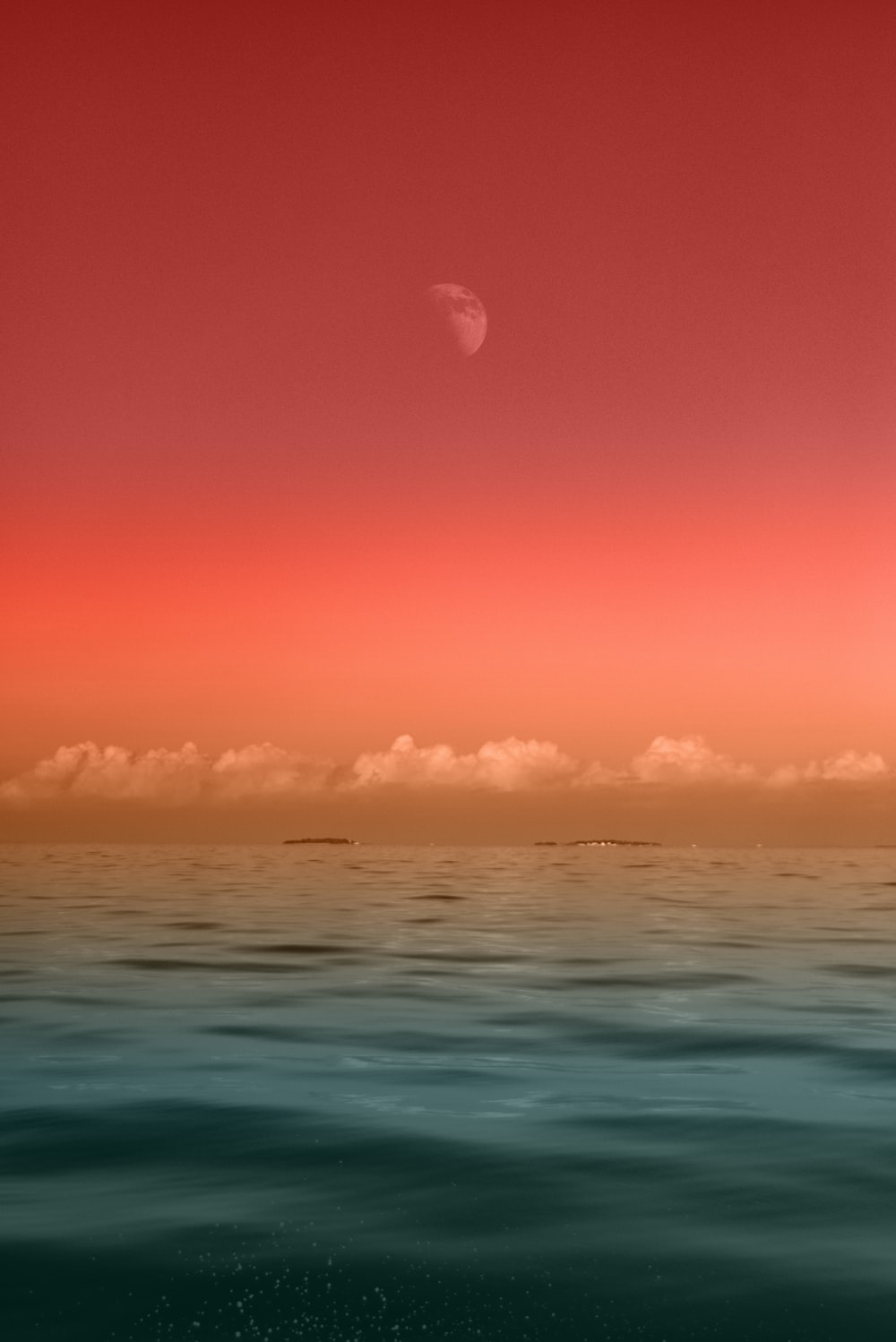 seascape photography of sea under half-moon