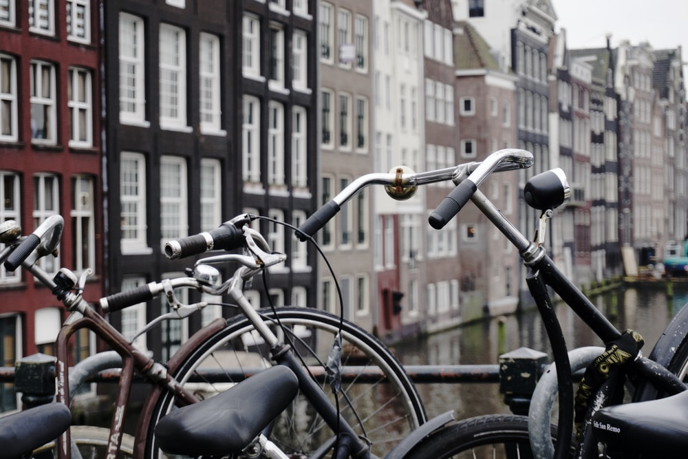 brown and black city bikes padlocked on black steel rail