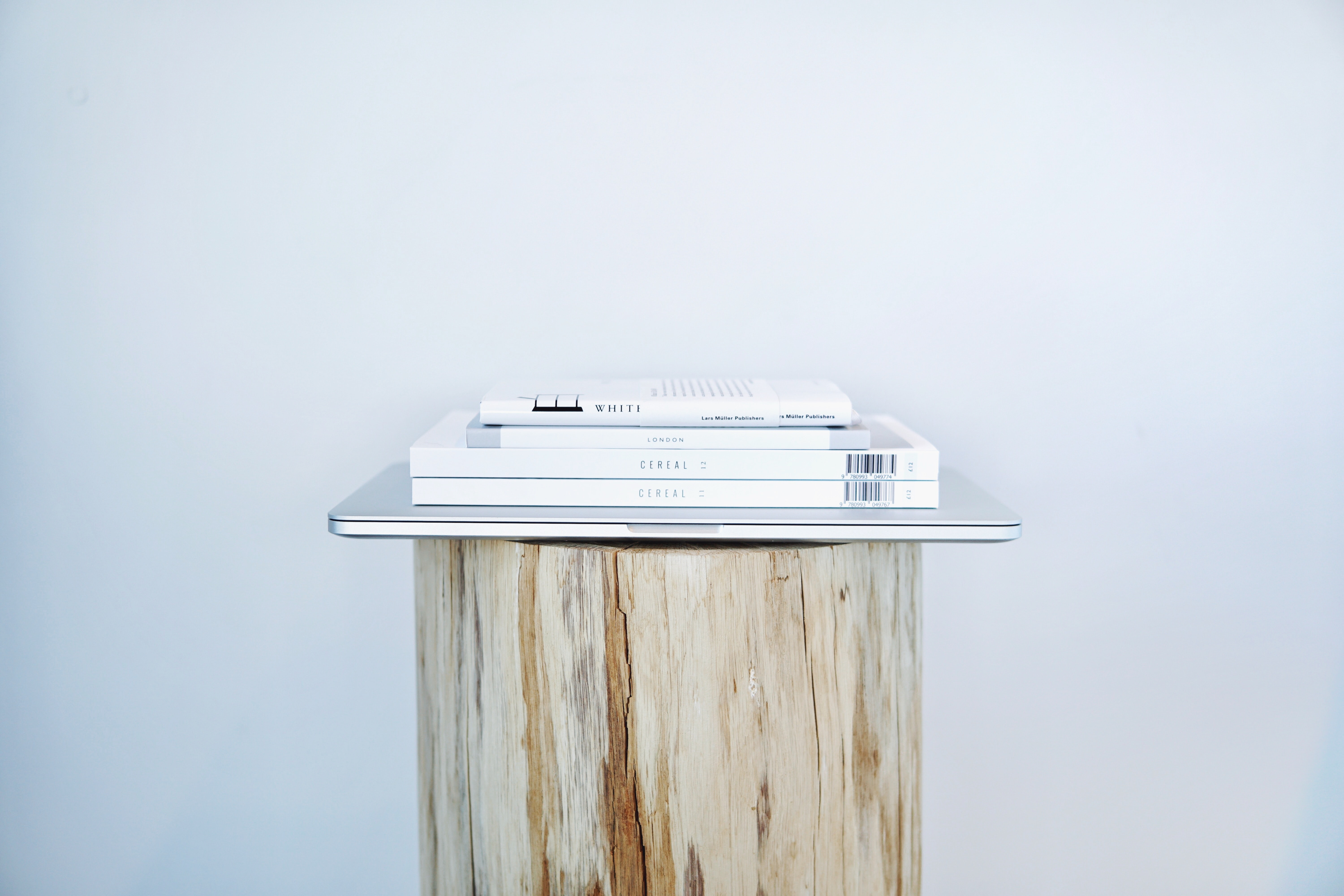 Four books with white covers on top of a MacBook on a log