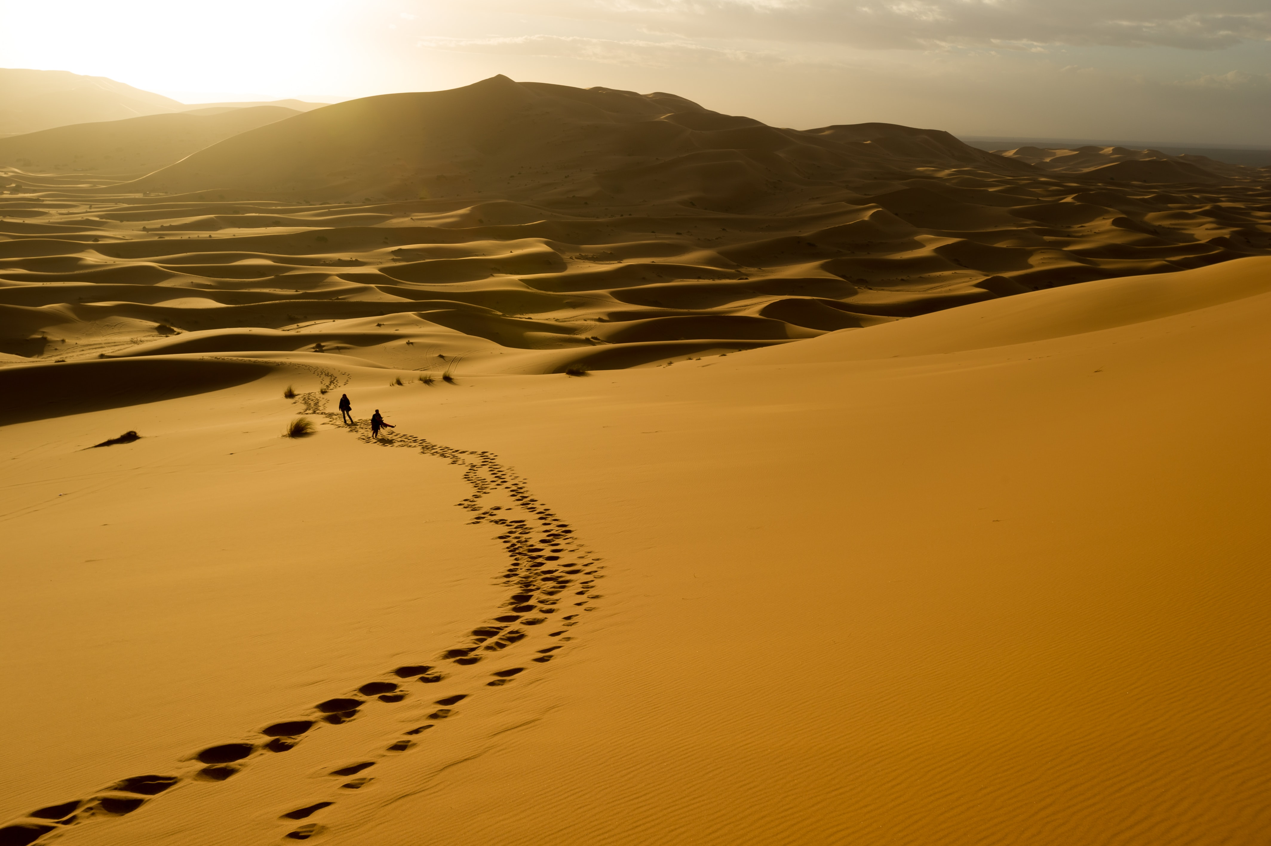 Silhouettes of two people walking along a trail of footprints in a scorching desert