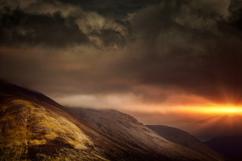 mountain and dark sky