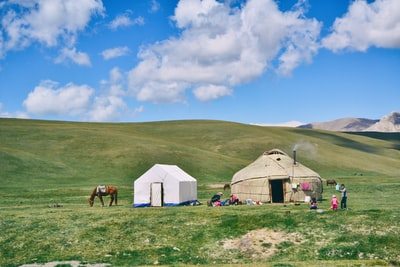 white canopy tent beside beside beige dome hut on green grass field at daytime kyrgyzstan teams background