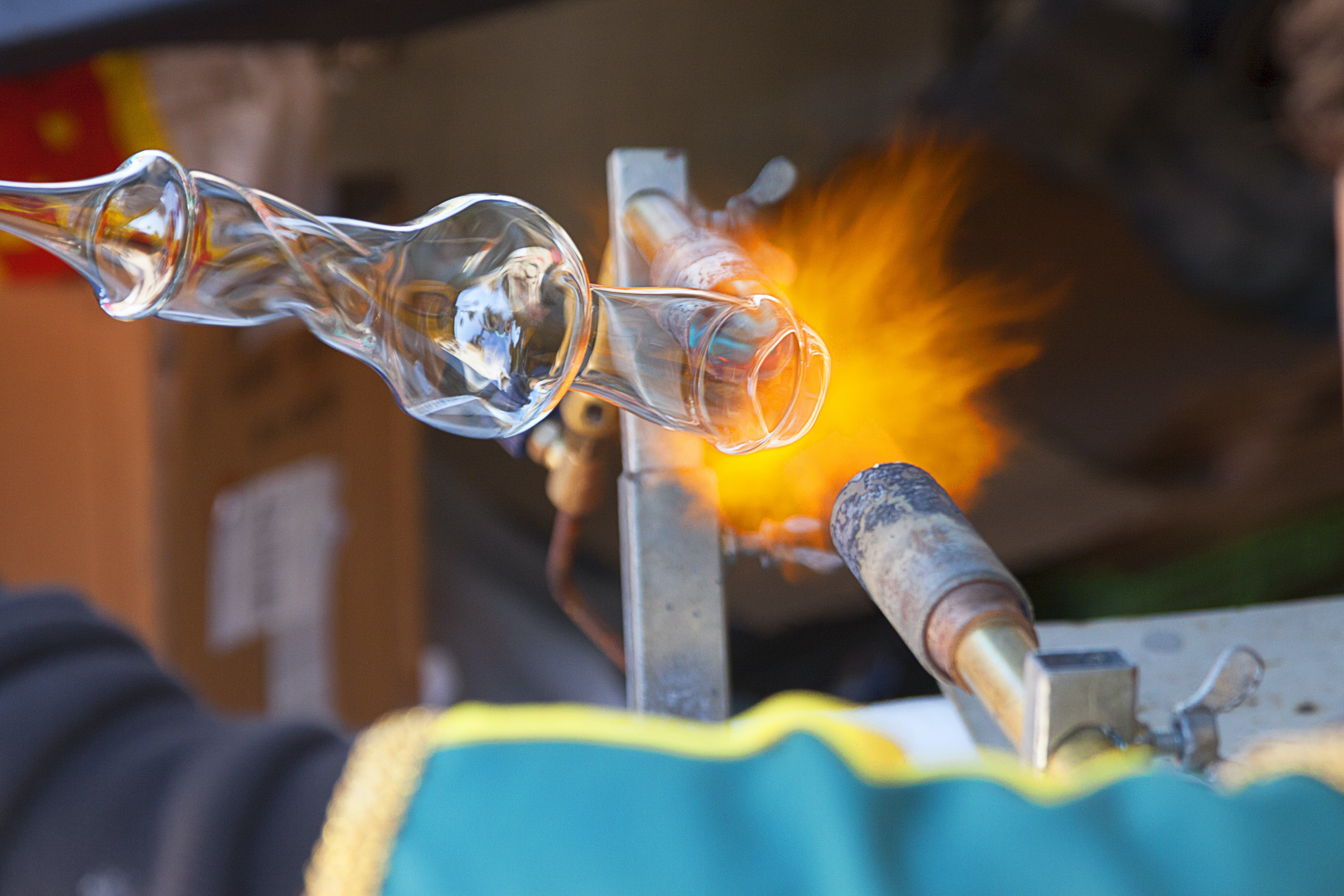 Burner shaping glass art at a glass blowing studio