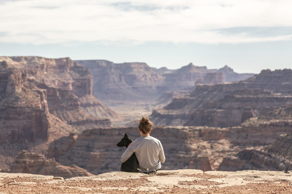 person with dog sitting on Grand Canyon cliff