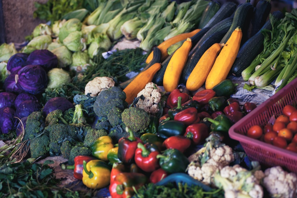 Various colorful vegetables at a stall
