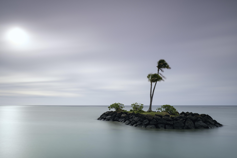 An isolated island with palm trees near the tropical Kāhala Beach on a windy clear day